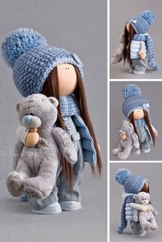 Cloth doll Fabric doll Textile doll Winter doll Blue doll Soft doll Tilda doll…