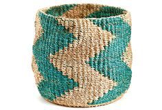One Kings Lane - Prints & Patterns - Zigzag Barrel Basket, Turquoise
