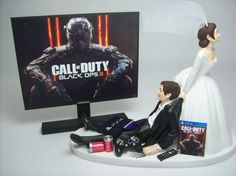 NEW GAMER COD Op 3 ps4 Brown Hair Bride and Groom Funny Wedding Cake Topper Video Game Groom's Cake