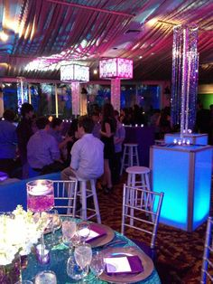 Purple and Turquoise Bat Mitzvah by @xquisiteflowers The kids' lounge, filled with light and glitter is the hot spot of the night. #Celebration #Mitzvah #Party #EventDesign #EventDecor