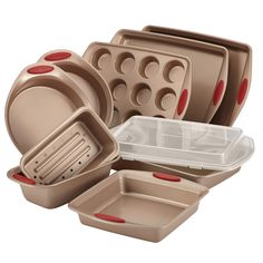 Features:  -Set includes 10 piece bakeware.  -Cucina collection.  -Latte brown with cranberry red handle grip.  -Sturdy carbon steel rolled-rim construction provides dependable baking and roasting per