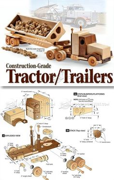 #1791 Wooden Truck and Trailer Plan - Children's Wooden Toy Plans and Projects | http://WoodArchivist.com