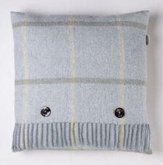 Shetland Pure New Wool Windowpane Aqua Pillow
