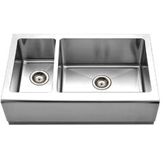 Houzer EPO-3370SL Epicure Series Apron Front Farmhouse Stainless Steel 70/30 Double Bowl Kitchen Sink, Small bowl left