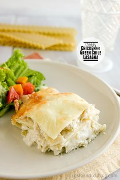 Cheesy Chicken and Green Chile Lasagna on Taste and Tell @Deborah Harroun {Taste and Tell}