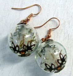 Copper and Glass Dandelion Seed Earrings ~ Make a Wish ~by Studiomoonny