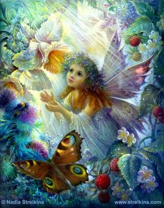 "*+*Mystickal Faerie Folke*+*... ""Fée des fleurs"" By Artist Nadezhda Strelkina..."