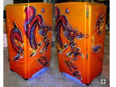 All images and content © copyright Mike Lavallee Inc. Vintage Fridge, Vintage Refrigerator, Dream Painting, Air Brush Painting, Painted Fridge, Pinstripe Art, Custom Airbrushing, Airbrush Art, Weird Art