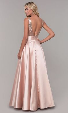 Shop long v-neck satin prom dresses with sequins at Simply Dresses. A-line formal dresses by Dave and Johnny, junior-size designer prom dresses, and sequin-bodice satin dresses with open v-backs. Backless Long Dress, Beautiful Long Dresses, Elegant Dresses, Prom Dresses Two Piece, Vetement Fashion, Designer Prom Dresses, Satin Dresses, Dresses Dresses, Party Dresses