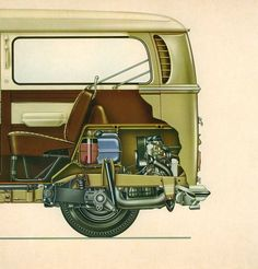 VW van engine cutaway view illustration