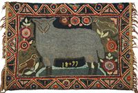 Animals were popular subjects for rug makers in Southeastern Pennsylvania. Perhaps this smiling sheep was a member of the flock living on the farm of this unknown northern Lancaster County maker. For collectors and historians she thoughtfully applied the date of 1897 to her finished piece. It was made from wool strips hooked on a burlap ground.