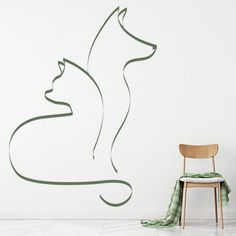 Cat And Dog Simple Outline Canine Feline Dogs Wall Sticker Home Decor Art Decals Wall Stickers Home Decor, Cat Wall, Simple Art, Outline, Dogs And Puppies, Dog Cat, Decals, Colours, Bedroom