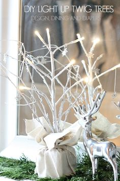 DIY Light Up Twig Trees, these are so cute and transition well from Christmas to winter! via @Taryn {Design, Dining + Diapers}