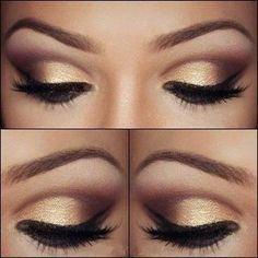 Pretty brown eye makeup with gold eyeshadow #makeuptips