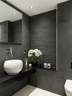Is your home in need of a bathroom remodel? Give your bathroom design a boost with a little planning and our inspirational 65 Most Popular Small Bathroom Remodel Ideas on a Budget in 2018 Grey Bathroom Interior, Grey Bathrooms, Modern Bathroom Design, Beautiful Bathrooms, Small Bathroom, Bathroom Ideas, Bathroom Designs, Master Bathroom, Luxury Bathrooms