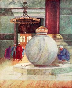 """'Fountain in S. Sophia' from """"Constantinople painted by Warwick Goble"""" (1906)"""
