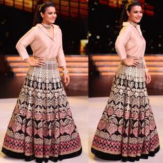 In A Lehenga And Shirt, Kajol Shows Us How To Ace Fusion Style Women's fashion dresses, Indian sari dress, Indian. Indian Fashion Dresses, Indian Bridal Outfits, Indian Gowns Dresses, Indian Designer Outfits, Skirt Fashion, Pakistani Gowns, Fashion Outfits, Choli Designs, Lehenga Designs