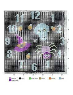 Halloween clock A Plastic Canvas Crafts, Plastic Canvas Patterns, Needlepoint Patterns, Cross Stitch Patterns, Haunted Diy, Canvas 5, Halloween Cross Stitches, Crochet Chart, Cross Stitching