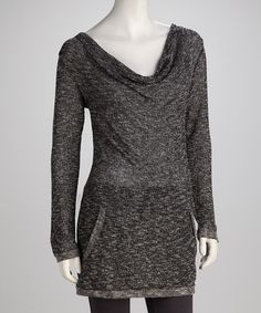 Take a look at this Charcoal Pocket Drape-Neck Tunic by COIN 1804  on #zulily today!