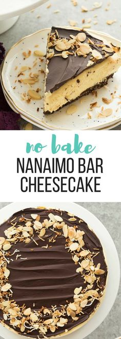 This No Bake Nanaimo Bar Cheesecake has all of the familiar flavors of the classic Nanaimo bar but in an easy no bake cheesecake! The perfect Christmas dessert (but I won't tell if you indulge year round!). Includes step by step recipe video. | no bake cheesecake | no bake dessert | chocolate | almonds | coconut #cheesecake #cheesecakerecipes #chocolate #dessert