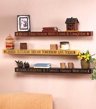 Sentiment Quote Wooden Accent Floating Wall Ledge Shelf 2 1/2 Feet Long! NEW