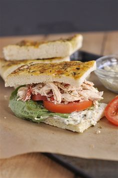 Roasted Red Pepper Chicken and Pesto  Sandwich--Slow cooker recipe perfect for summer.  Simple and tasty, changed nothing.  Have also served on the torta rolls from costco-so good.