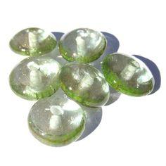 Handmade Disk Glass Lampwork Beads Transparent Green Enamel Goldstone