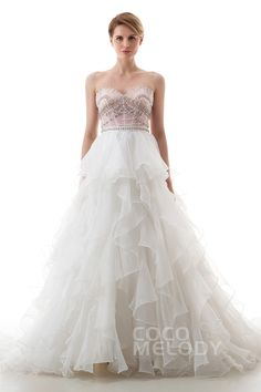 Luxurious+A-Line+Sweetheart+Natural+Court+Train+Satin+and+Organza+Ivory/Veiled+Rose+Sleeveless+Lace+Up-Corset+Wedding+Dress+with+Beading+and+Ruffles+LD4039