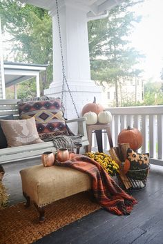 Fall front porch - rustic fall decor.