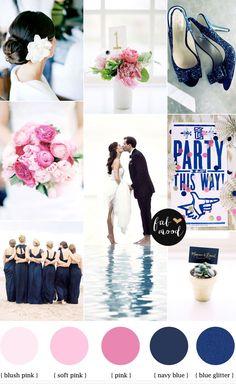 navy blue and pink beach wedding  #Wedding