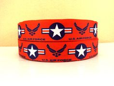 7/8 NEW Us Military AIR FORCE Grosgrain by AndysTreasures2015 Military Ribbons, Us Military, New Uses, Hairbows, Grosgrain Ribbon, Yards, Retirement, Air Force, Unique Jewelry