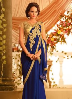 bemberg georgette Blue designer saree gown for party wear C15373