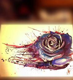 Rose in watercolor