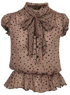 Women's Miss Selfridge Petites Heart Flock Blouse Online Miss Selfridge Tops, Petite Tops, Heart Shirt, Petite Outfits, Blouse Online, Work Attire, Mode Style, Blouse Designs, Feminine Fashion