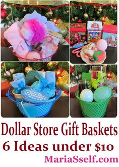 Check out these 6 AWESOME Gift Baskets Idea... All can be made from Dollar Tree products for under $10!