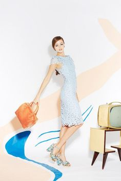 Alice + Olivia S/S '13, #LOVE the deep arm holes, #pastel blue #lace