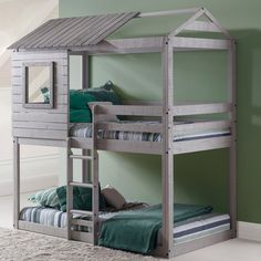 Donco Kids Loft-Style Light Grey Twin over Twin Bunk Bed for a kids bedroom Bunk Beds With Stairs, Cool Bunk Beds, Twin Bunk Beds, Kids Bunk Beds, Loft Beds, House Bunk Bed, Treehouse Loft Bed, Bunk Bed Fort, Unique Bunk Beds