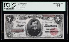 1891, $5 Coin Note. PCGS Very Choice New 64. Fr-364. KL-258. Nicely margined on both sides, this pleasing note displays great paper and ink colors. The face features a portrait of Civil War hero General George H. Thomas. Estimated Value $2,250 - 2,500. #Banknotes #UnitedStates #MADonC