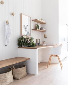 minimalist home office with modern desk and open shelves, vertical white shiplap. Hallway Office, Office Nook, Home Office Space, Home Office Design, Desk Nook, Home Office White Desk, Home Office Shelves, Home Desk, Desk Office