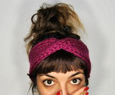 Burgundy Vegan turban headband. Vegan Knitted. by agthandmade