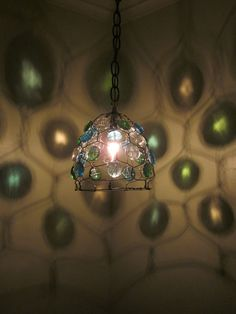 Hanging Lamp - steel wire & glass pebbles  #DIY #craft