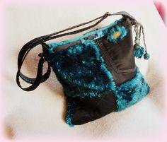 Handmade by Judy Majoros- Turquoise-black faux fur Bag Fur Bag, Denim Bag, Bucket Bag, Faux Fur, Jeans, Turquoise, Tote Bag, Handmade, Black