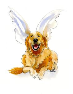 Golden Retriever with Angel Wings by kathiekemp on Etsy, $8.00