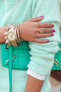 Mint | Sweater & Purse