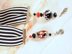 Glass Beads Black and White Bookmark. OOAK Handmade by CKDesignsUS, $10.75