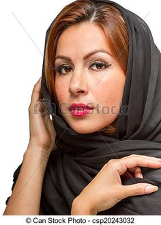 Stock Photo - Hispanic Female Wearing Black Scarf - stock image, images, royalty free photo, stock photos, stock photograph, stock photographs, picture, pictures, graphic, graphics