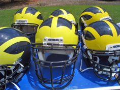 U of M helmuts #GOBLUE #AnnArbor  Love our Wolverine Helmuts