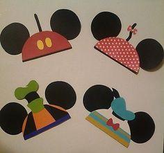 Lot of 4 Disney Mickey Minnie Donald Gooofy Mouse Ears Hat Die Cut Scrapbook | eBay