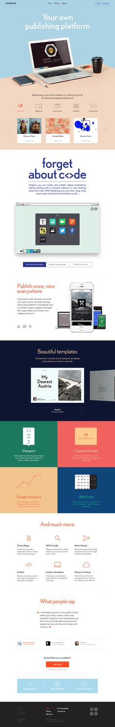 Website Redesign by Readymag Team, via Behance