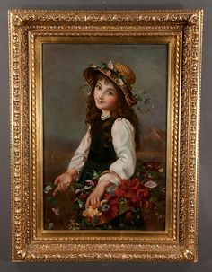 """Buy online, view images and see past prices for Oil painting on canvas, young girl in a garden, canvas size 30"""" high, 20"""" wide. Invaluable is the world's largest marketplace for art, antiques, and collectibles."""